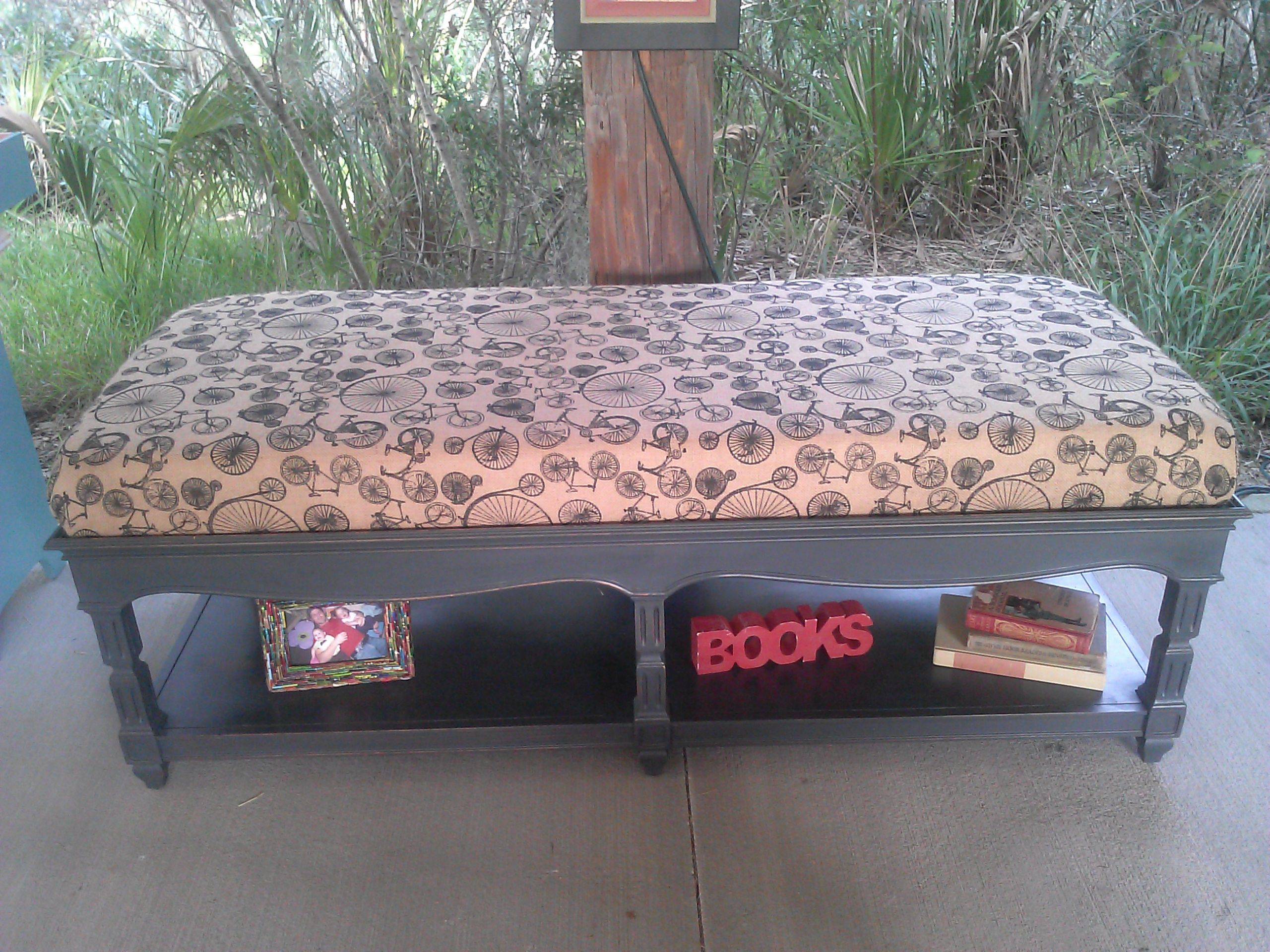 Thomasville coffee table turned into a cushioned bench using a fun