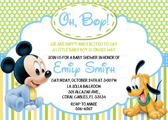 Disney Baby Mickey Mouse Inspired Baby Shower or Birthday Printable ...