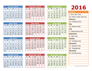 2016 yearly calendar with holidays printable 2016 calendar one page