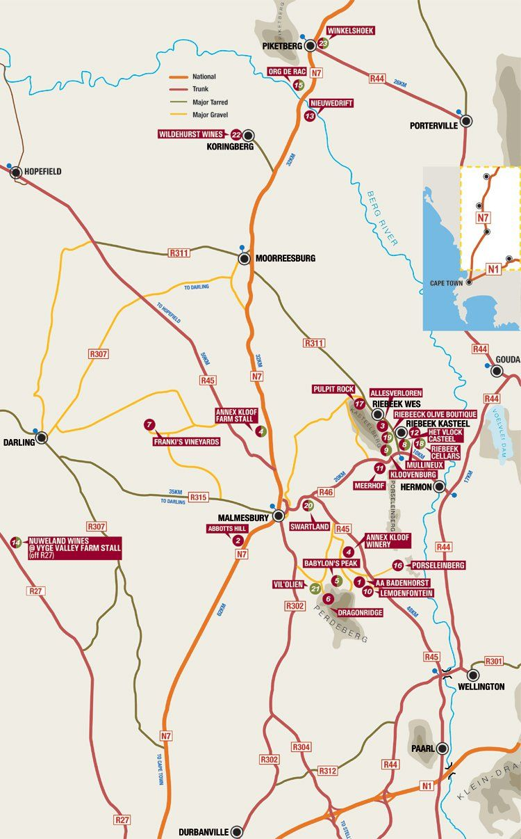Swartland Wine and Olive Route Map | Map it! | Pinterest | Wine