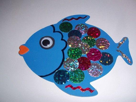 Rainbow fish craft kit preschool age rainbow fish and fish for Rainbow fish activities