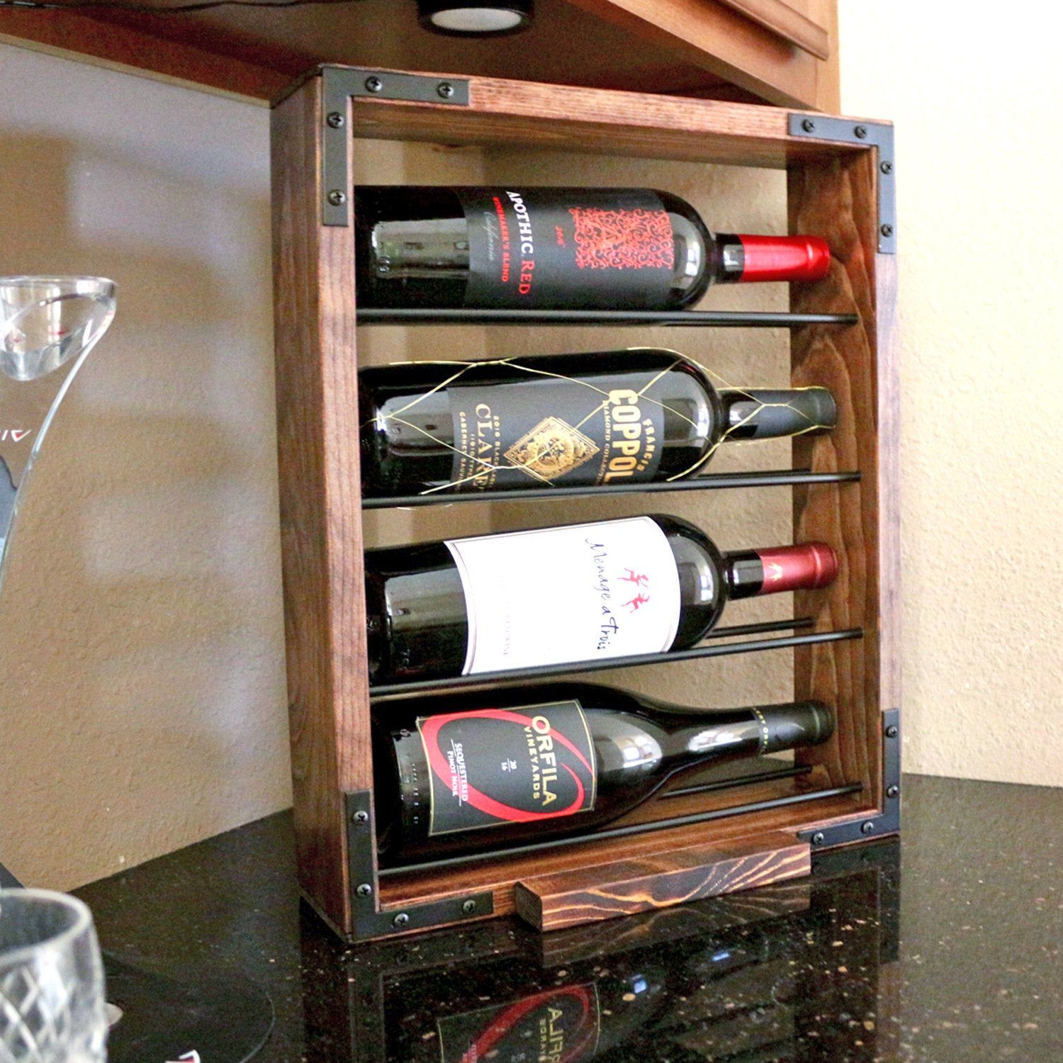 Countertop Wood Wine Rack 4 Bottle Standing Wine Rack Tabletop