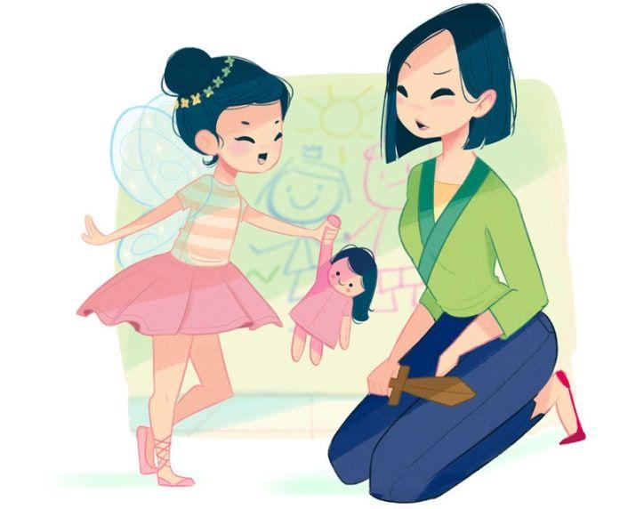 """Ihr Leben als Mutter: Mulan hat eine sehr mädchenhafte Tochter, zu der sie nur schwer einen Draht findet. Abends beschwert sie sich manchmal bei Li Shang: """"Ich habe im Alleingang die Hunnen besiegt, aber die Kleine bewundert Frau Chen von gegenüber viel mehr, nur weil die sich so schön schminkt!"""""""