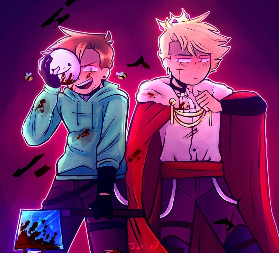 Jordan S Instagram Photo Tommy And Tubbo As The Kings Themselves For Halloween Ive Had This Drawing For Like 3 Dream Friends Minecraft Fan Art Dream Team