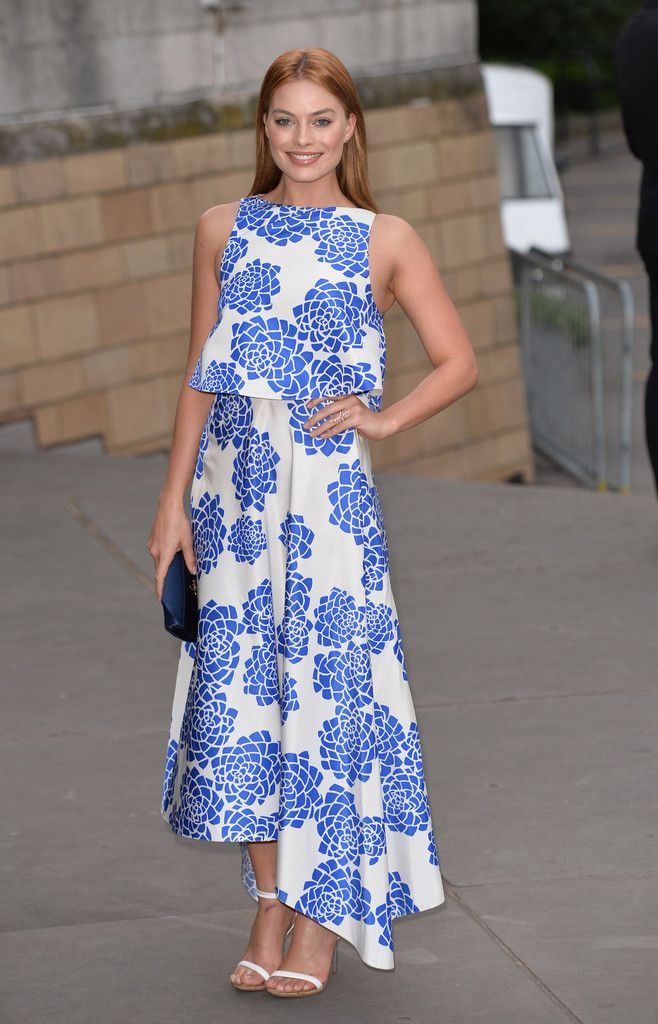 The stunning Margot Robbie in a tiered floral frock