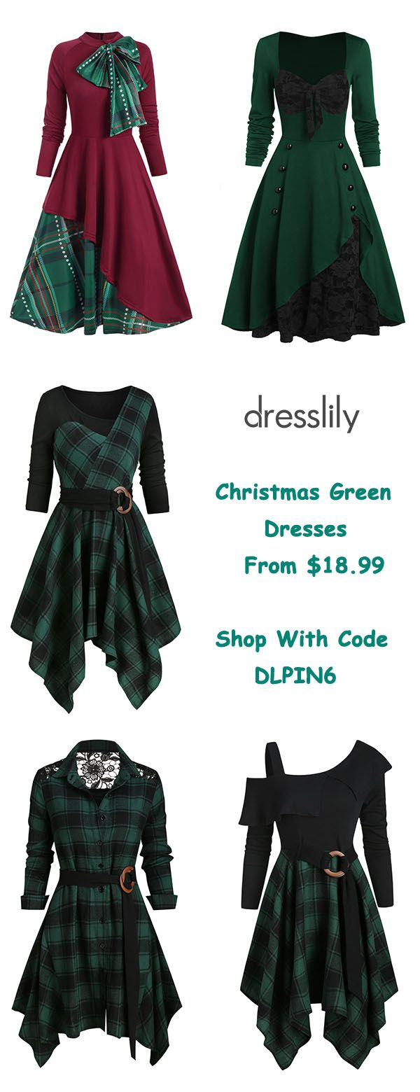 Dresses | Dresses for Women | Plaid Dresses | Green Dresses with Long Sleeves #womenschristmasoutfits