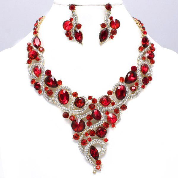 6c2cdb61a Royal Ruby Red Clear Crystal Rhinestone Vine V Shaped Jewel Stone Formal  Gold Chunky Necklace Set Elegant Costume Jewelry