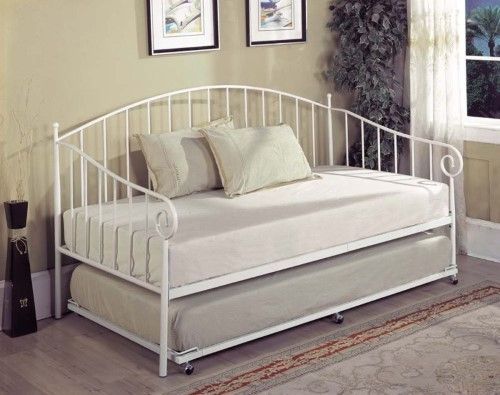 Kings Brand White Metal Twin Size Day Bed (Daybed) Frame With Metal