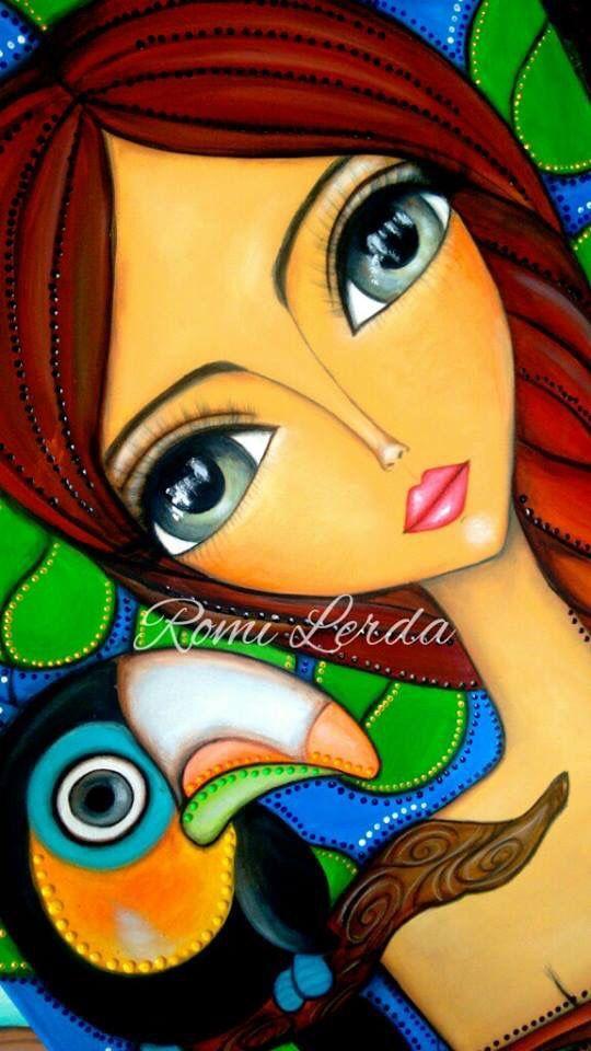 Cuadros modernos dibujos abstractos ojos grandes romi lerda mujer arte romi lerda - Cuadros juveniles modernos ...