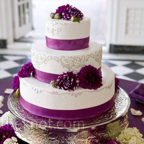 Purple Ribbon Wedding Cake Wedding Cakes Ribbon Cake Purple
