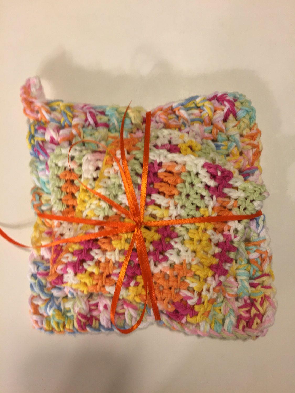 Soft Fall Colors Trivet and Washcloth Set, 100% Cotton, Crochet by jabcrochet on Etsy