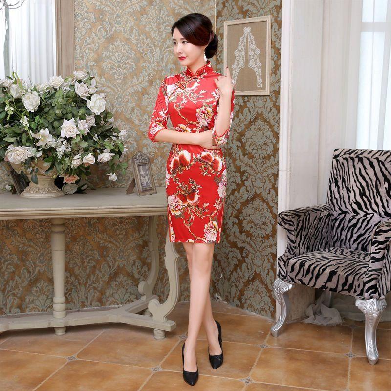 National Chinese Women'S Mini Velvet Dress Cheongsam
