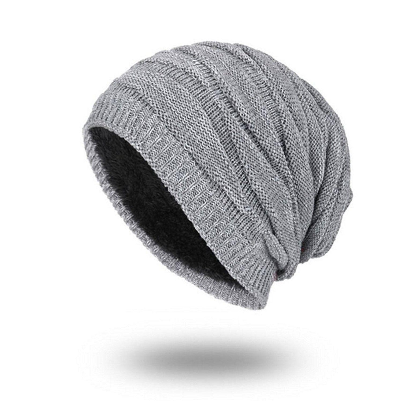 b5e4a1bdae9 Men s Knit Thicken and Fleece Lining Beanie Hat Winter Slouchy Warm Cap -  Grey - CX188E82ZAR - Hats   Caps