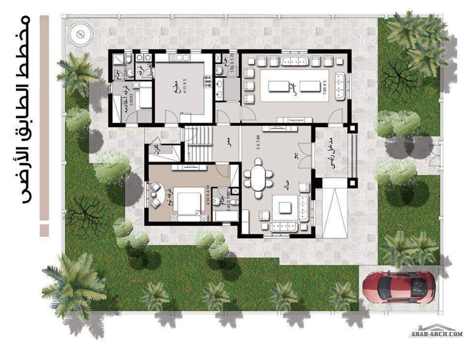 نموذج مسكن خليجى 4 غرف نوم 370 متر مربع طابقين Square House Plans New House Plans Villa Design