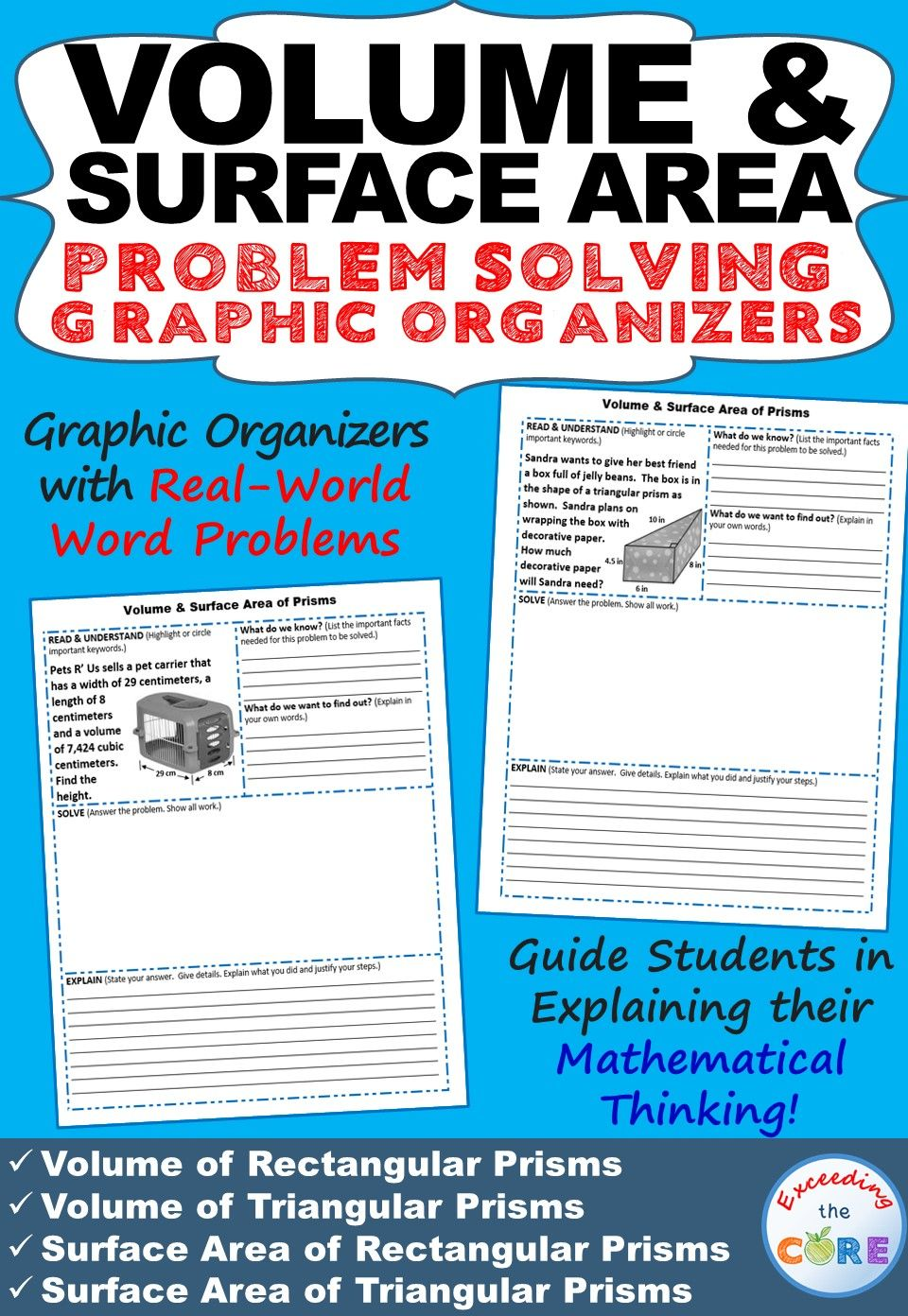 VOLUME and SURFACE AREA of PRISMS Word Problems with Graphic ...
