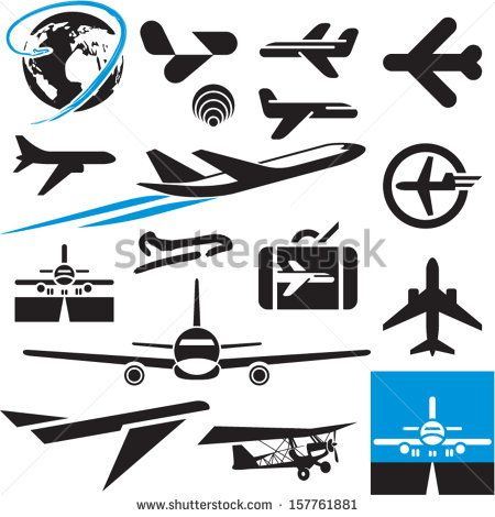 Airplane Icons Airport Symbols Plane Onboard Pinterest