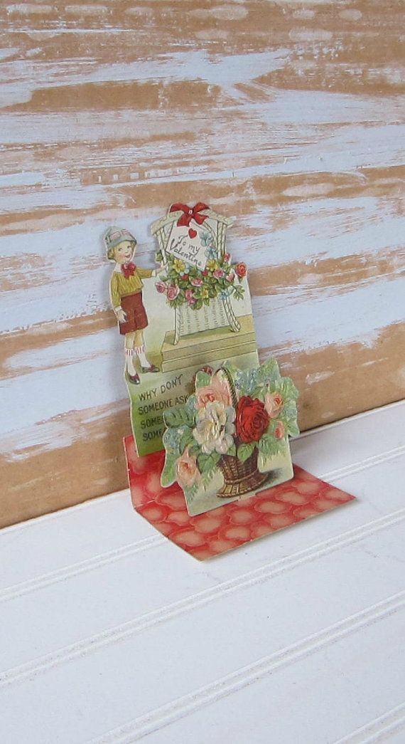 Antique Valentine 3D Stand Up Card by VintageSouthernPicks on Etsy