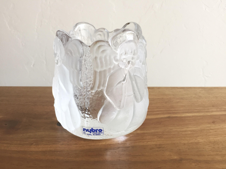 Nybro sweden angel candle holder glass votive swedish christmas nordic candle by unemaisonbleu on etsy