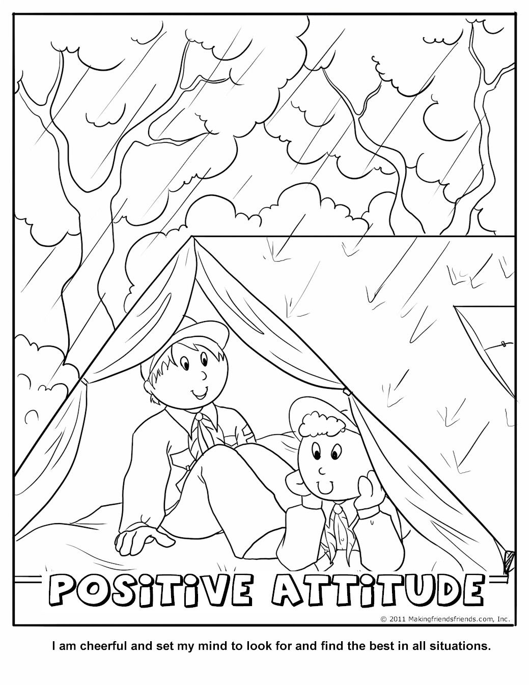 Positive Attitude Coloring Page Wolf Cub Achievement 6a Ideas