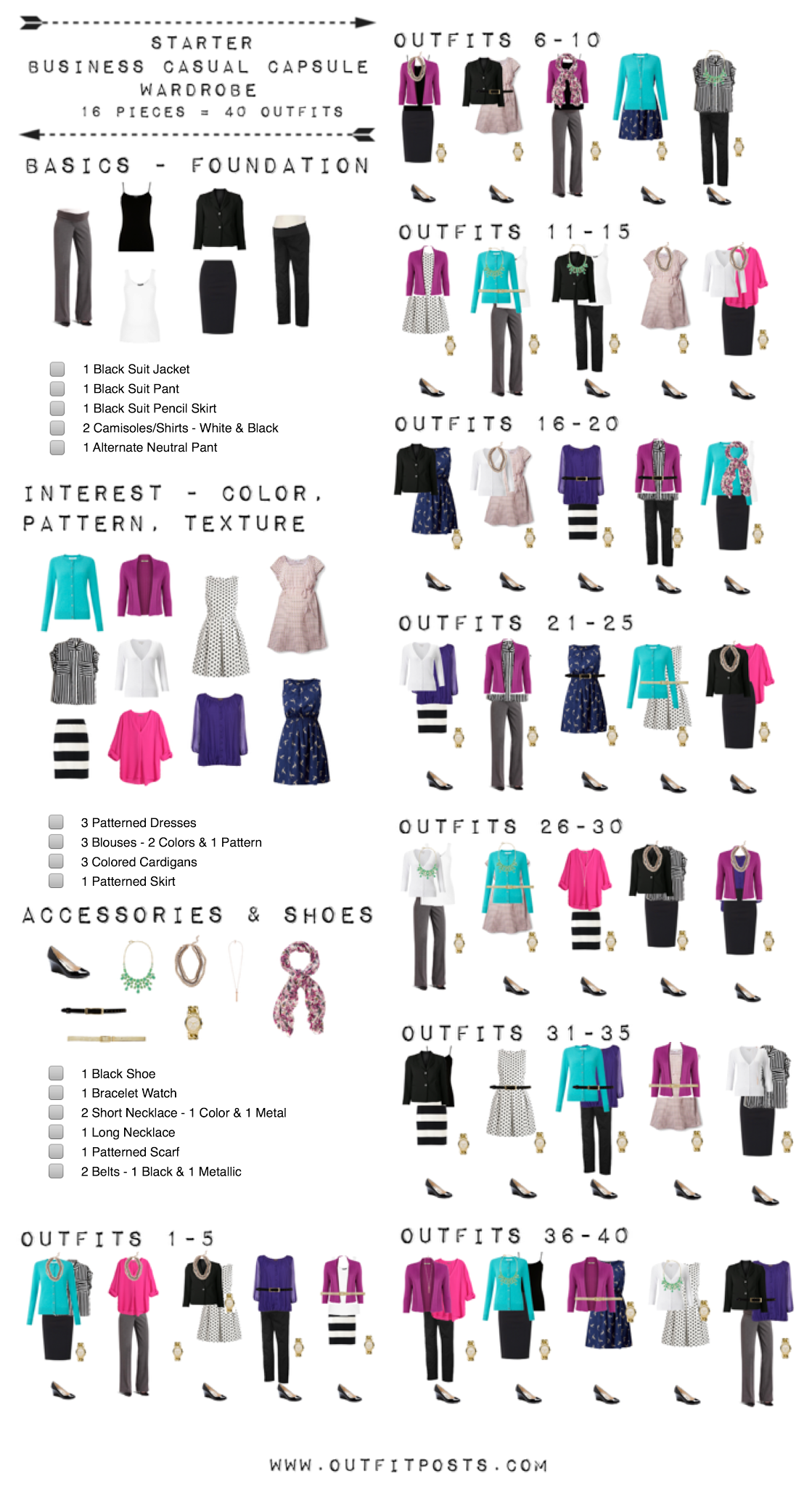 starter business casual capsule wardrobe checklist outfit posts