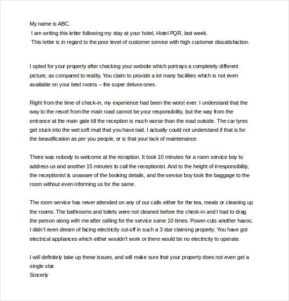 bad service customer complaint letter template1 Creative