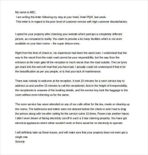 bad service customer complaint letter template1 | Creative