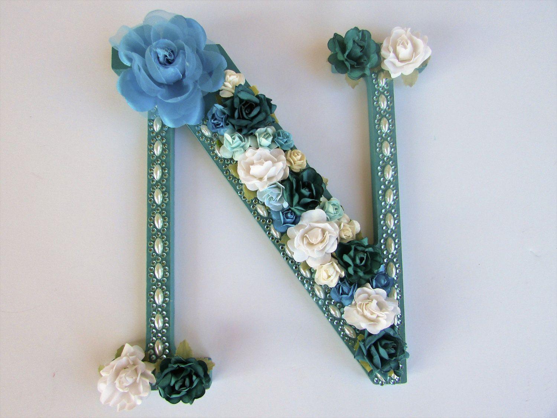 Custom name letter   Flower name letter   Letter N   Nursery wall
