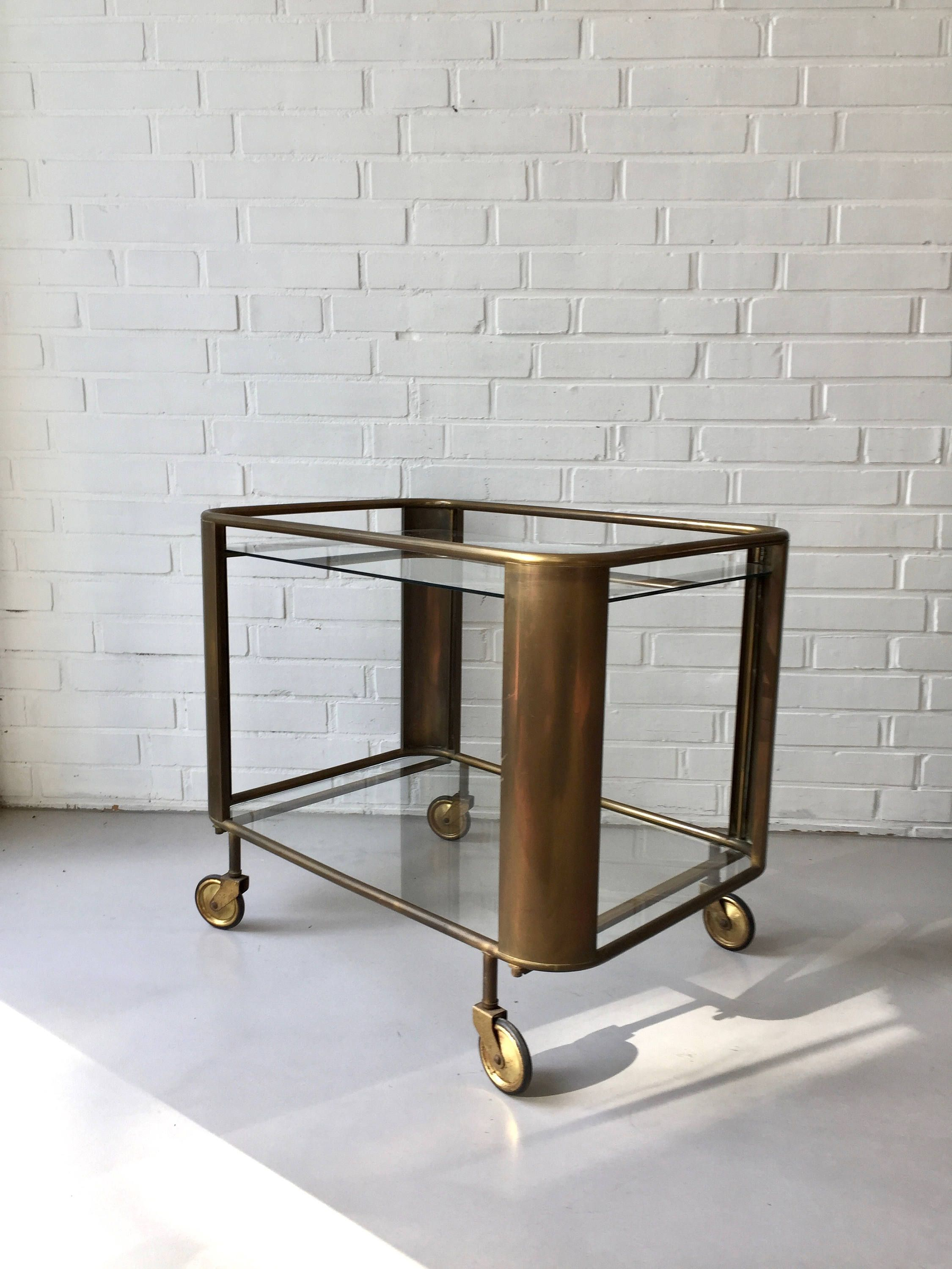 Servierwagen Glas Art Deco Bar Car Vintage Tea Trolley Side Table Cart Glass