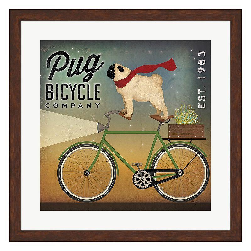 Metaverse art pug bicycle company framed wall art