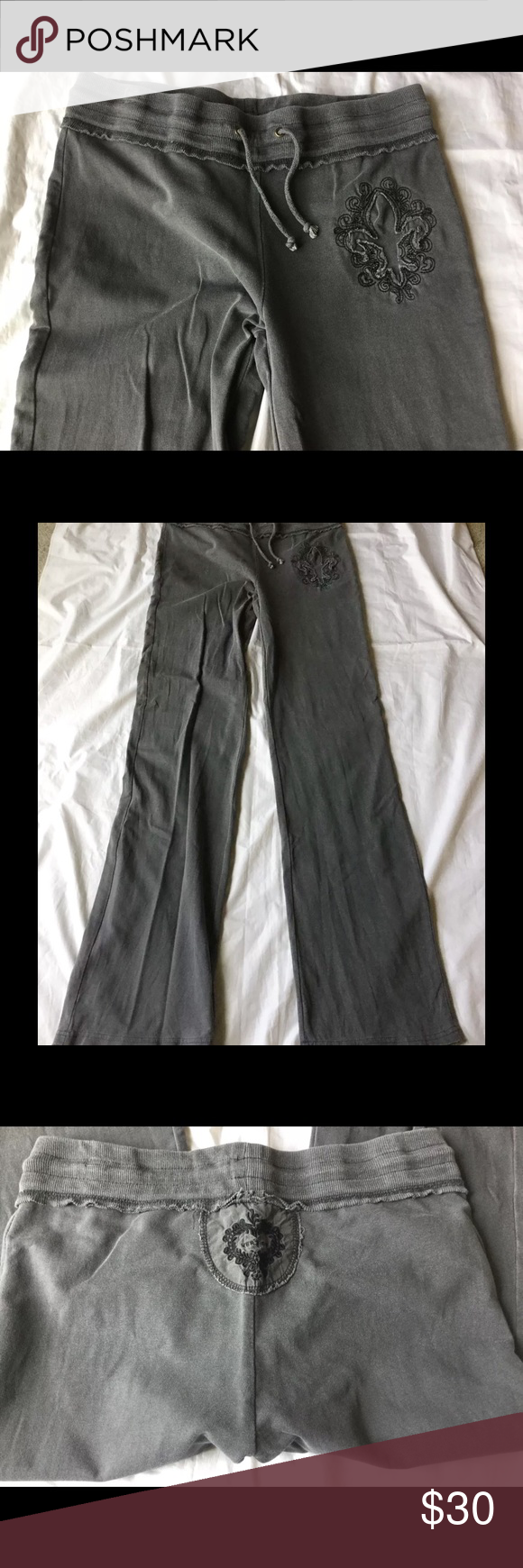 Vertigo Embellished Sweatpants Dark Gray Excellent condition normal pulling from washing. Vertigo Paris Pants Track Pants & Joggers