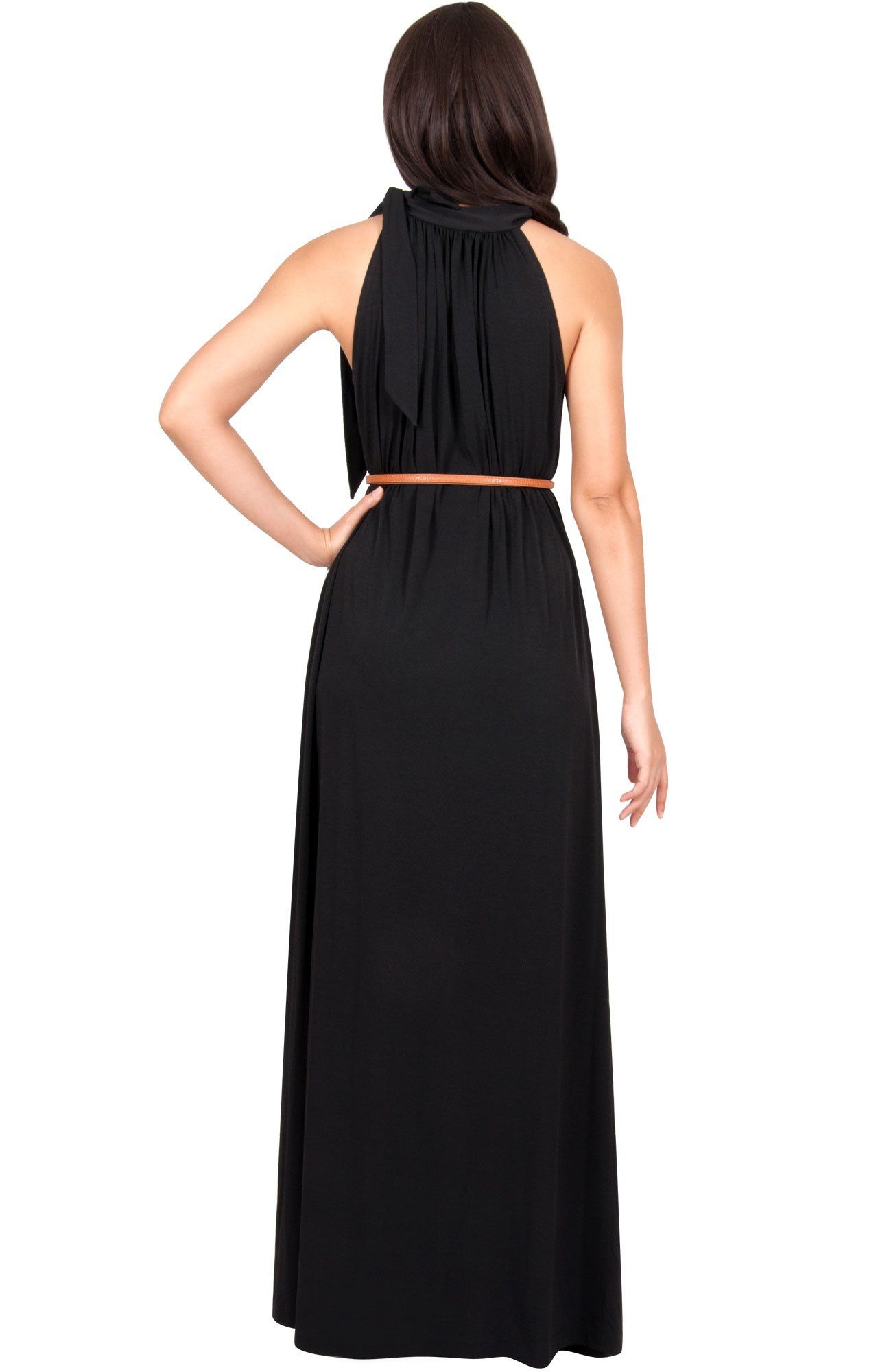 664a77a0d90 Maternity Outfits - cool maternity maxi dress   KOH KOH Womens Long Halter  Sleeveless Sexy Summer Belted Evening Maxi Dress Black S 46   A lot more ...