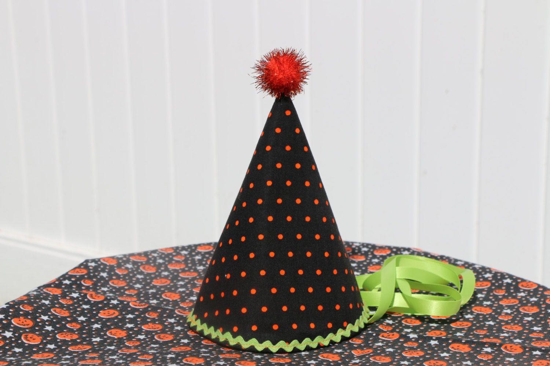Polka dot Fabric Birthday Hat / First Birthday by TheJoyfulDetails