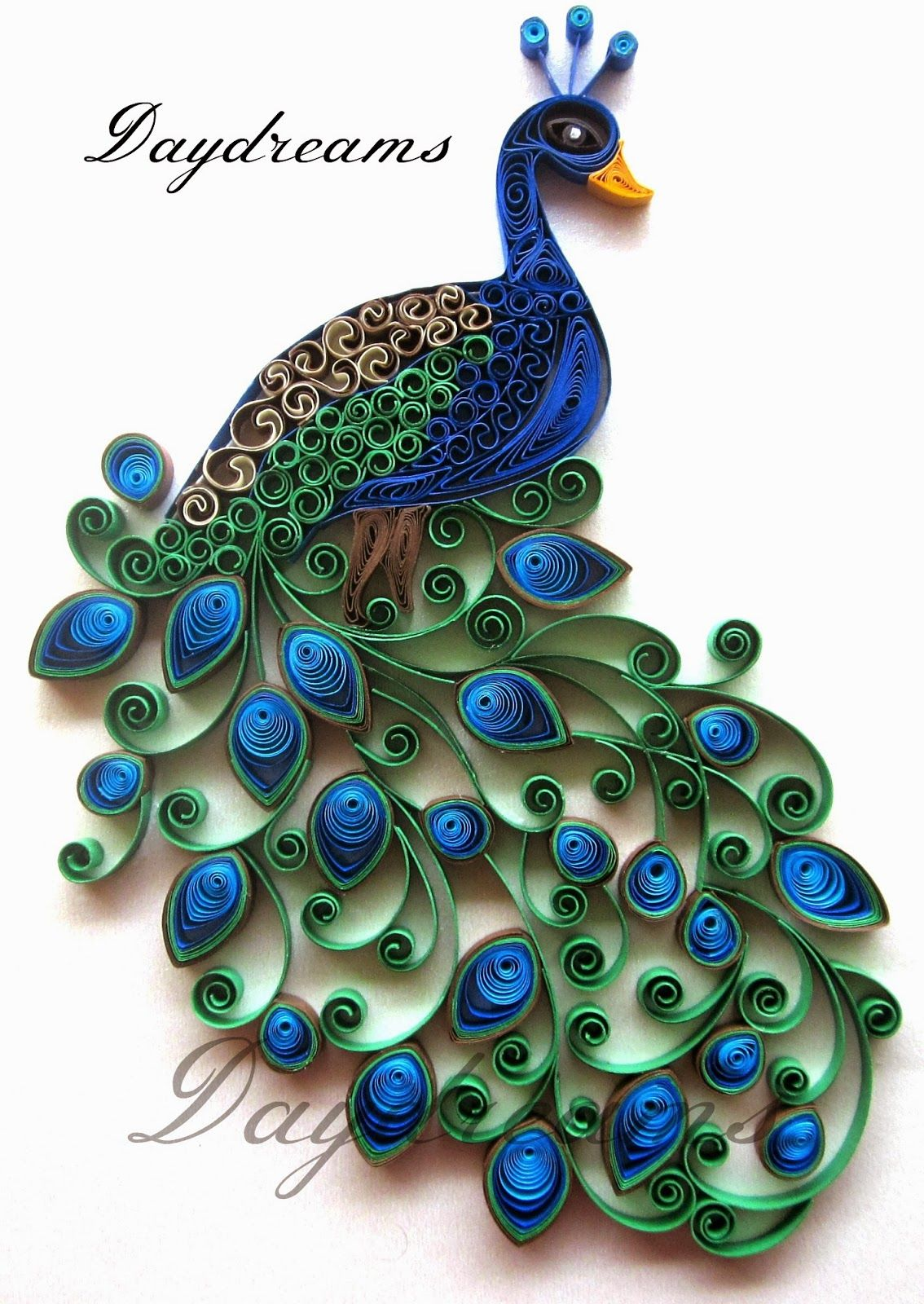 Daydreams quilled peacock embroidery design inspired for Paper quilling designs