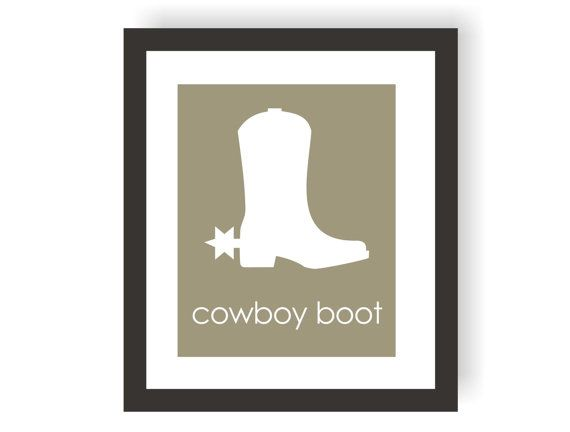 cowboy boot art print equestrian decor cowboy room decor modern
