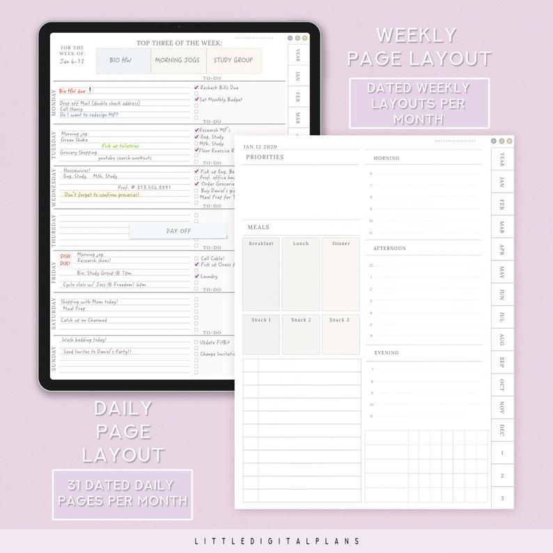 2020 Portrait Digital Planner With Lilac Cover for GoodNotes | Etsy