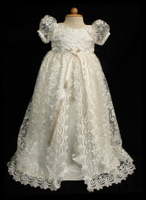 2955a79898 Stunning Off White Lace Christening Gown Baptism by Caremour ...