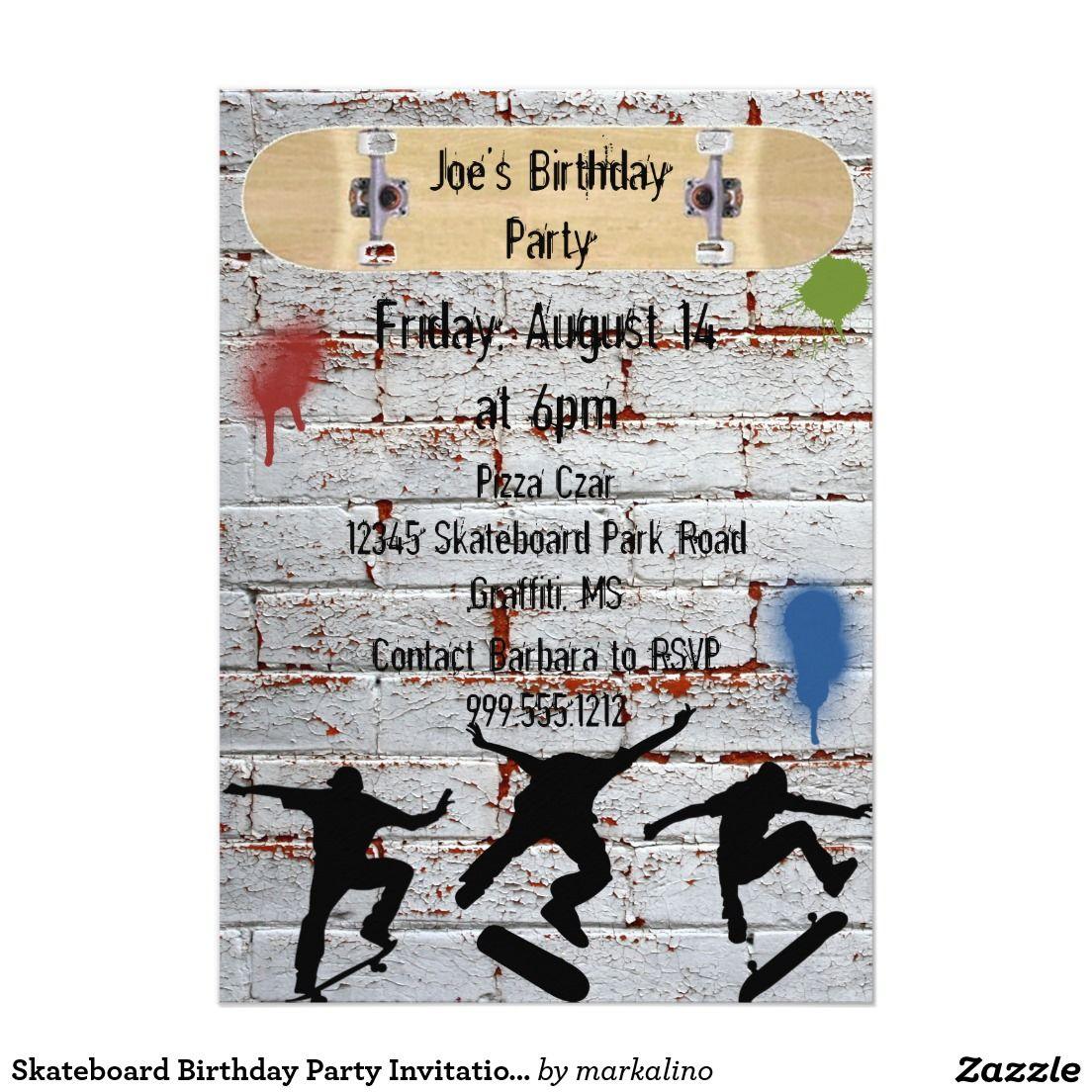 Skateboard Birthday Party Invitations | Zazzle - Invitations ...