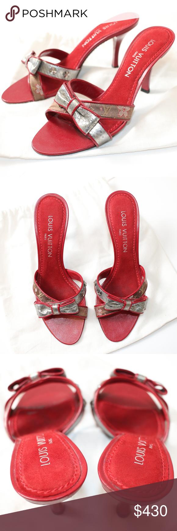 dc781808071e Louis Vuitton Red Satin Cherry Blossom Slide Heels Authentic Louis Vuitton  brown monogram satin silver snake