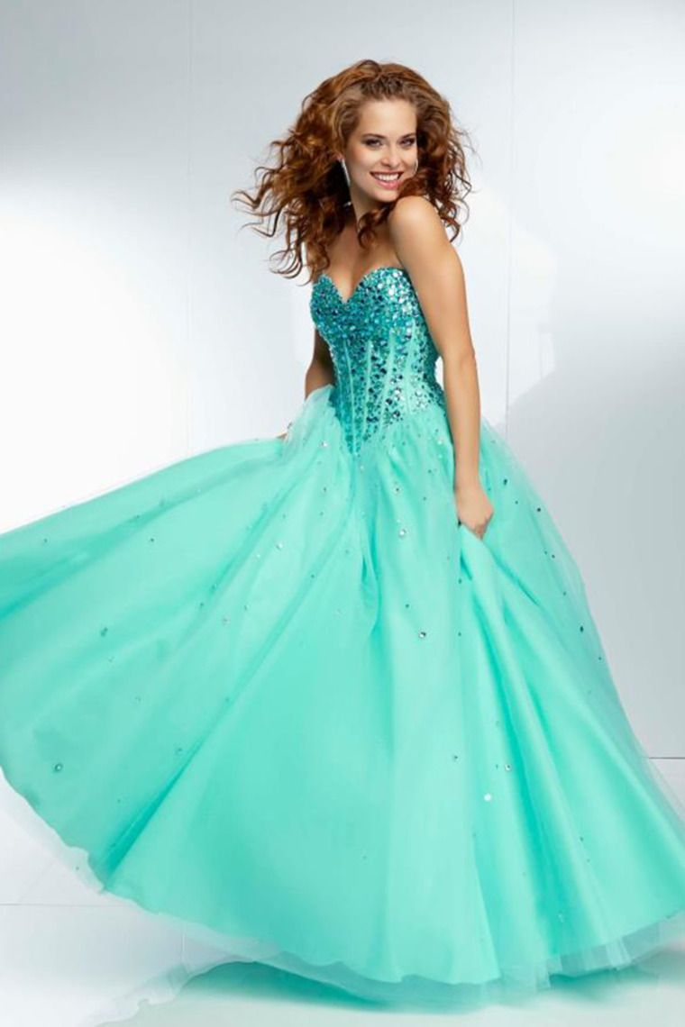2014 Graceful Sweetheart Crystal Beaded Bodice A Line Prom Dress ...