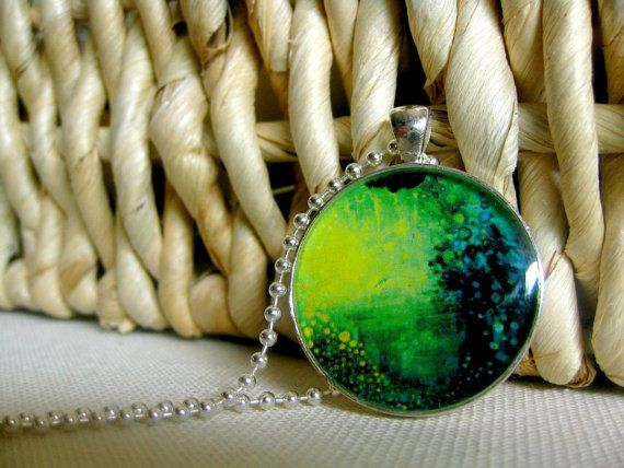 Fine Art Pendant stirling silver plated resin by NikolWikmanArt, $22.00
