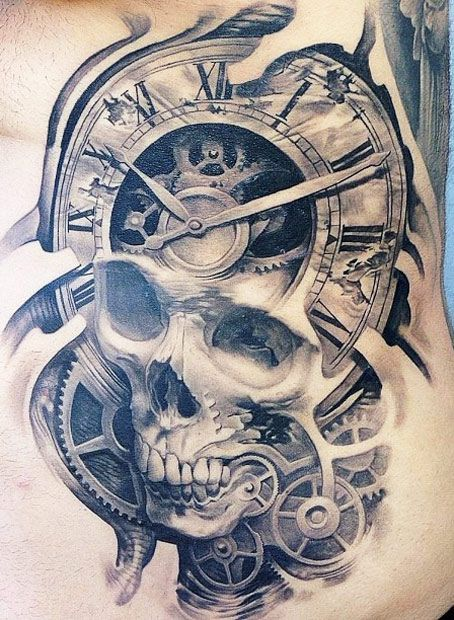 2c6f540e1a229 Tatouage crâne, engrenages et horloge New Tattoos, Clock Tattoos, Broken  Clock Tattoo,