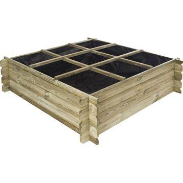 carr potager nikola en pin 120x120x40 cm forest style jardin pinterest. Black Bedroom Furniture Sets. Home Design Ideas