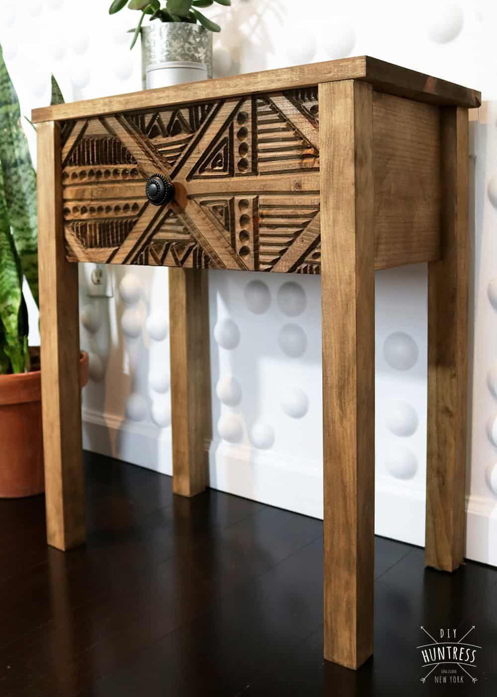 DIY Wood Carved Side Table  DIY Huntresscarved