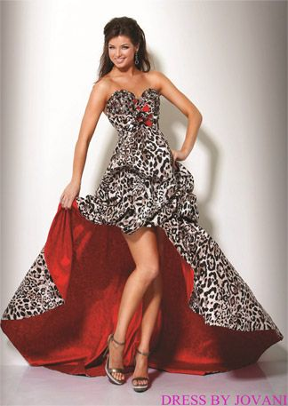 eca062253516 Jovani Prom Leopard Print Prom Dress Style 7455, Strapless dress, short  front and long train in the back. Black and white leopard print with red  lining and ...