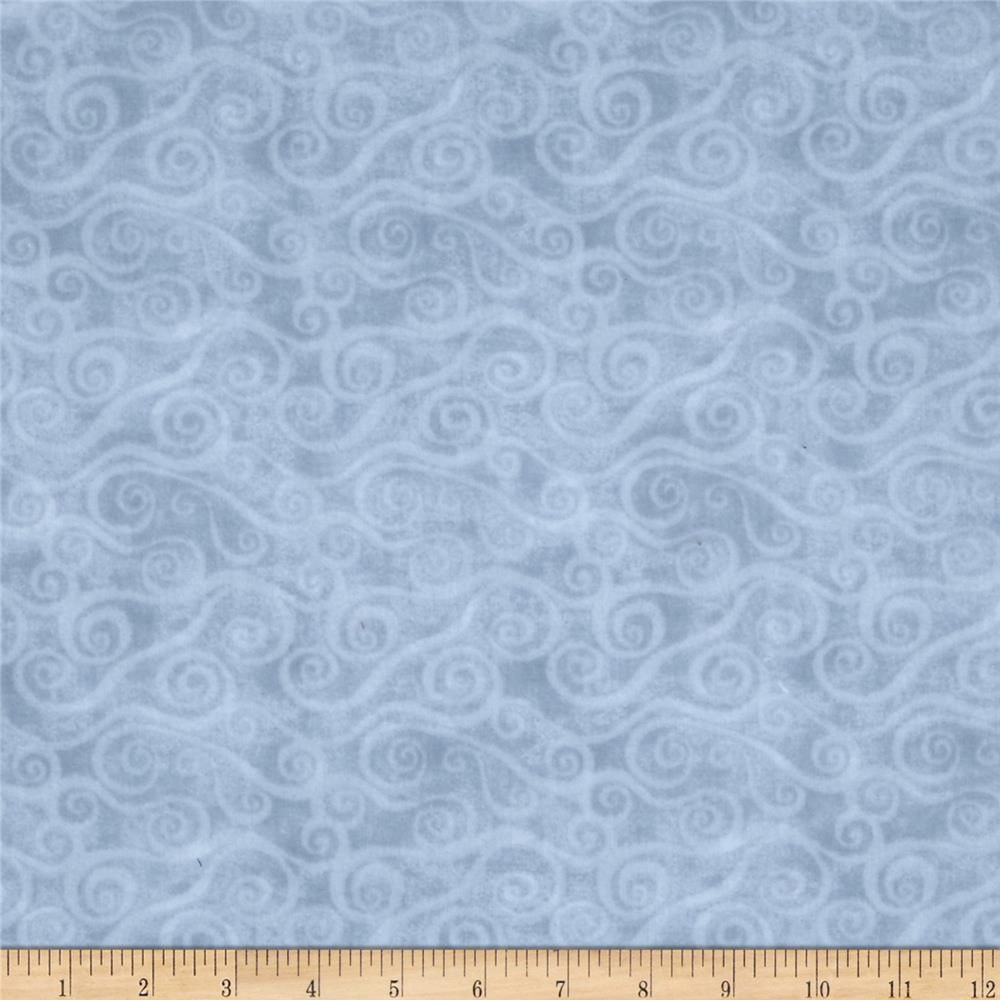 """108"""" Wide Quilt Back Flannel Swirly Scroll Gray From"""