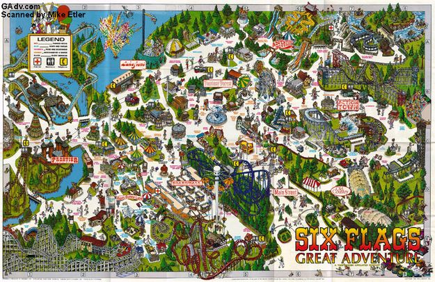 Why It S Awesome To Be From New Jersey Six Flags Great Adventure Theme Park Map Six Flags