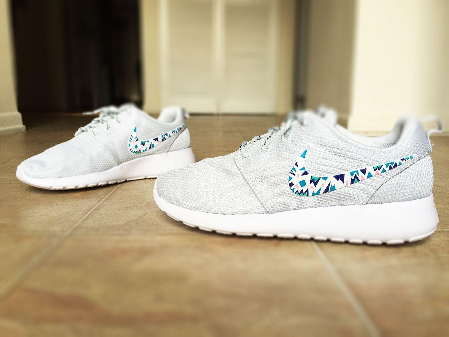 online store 0e1a2 6a55e Womens Custom Nike Roshe Run sneakers, triangles, purple, pink, teal, blue  trendy design, platinum white metallic nike roshe