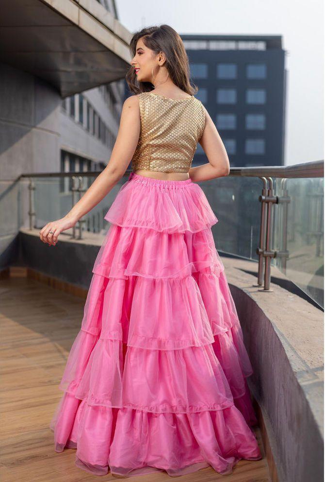 Pink Multi-Layered Lehenga   Lehenga, Deepika padukone ...