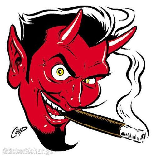Smokin devil head sticker decal poster art coop cp10r