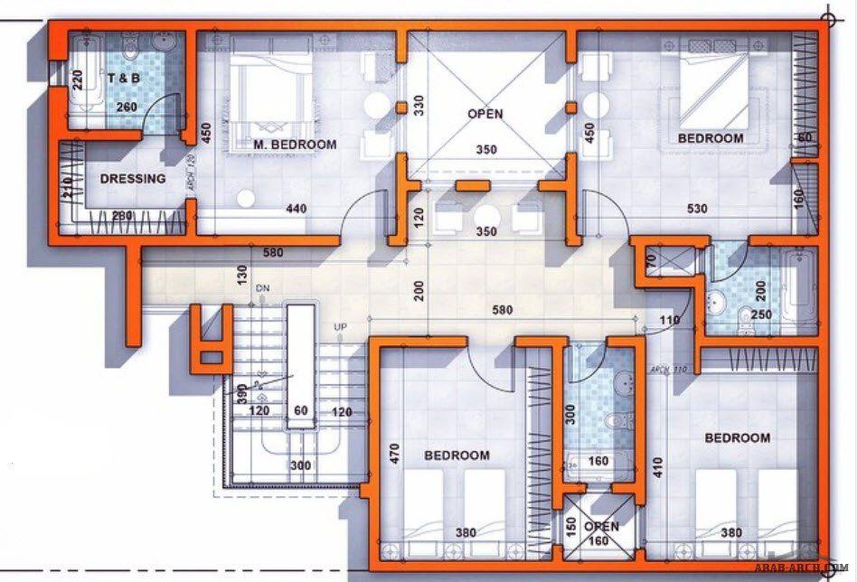 مخطط فيلا سكنية مساحة الأرض ٢٠٠ م٢ معيشة بالدور الأرضي و نوم في الدور الأول ن تصميم معماري عمار Architect Amma House Layouts Dream House Plans House Design